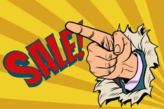 The index finger shows on sale Royalty Free Stock Photography