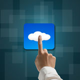 Index finger touching cloud app icon Royalty Free Stock Images
