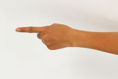 Index finger touching forward isolated on white background. Stock Images