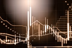 Index graph of stock market financial indicator analysis on LED. Abstract stock market data trade concept. Stock market financial data trade graph background Royalty Free Stock Images