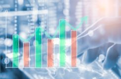 Index graph of stock market financial indicator analysis on LED. Abstract stock market data trade concept. Stock market financial data trade graph background Stock Photos