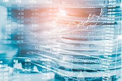 Index graph of stock market financial indicator analysis on LED. Abstract stock market data trade concept. Stock market financial data trade graph background Stock Image