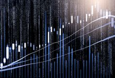 Index graph of stock market financial indicator analysis on LED. Stock Images