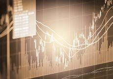 Index graph of stock market financial indicator analysis on LED. Royalty Free Stock Images