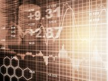 Index graph of stock market financial indicator analysis on LED. Stock Photos