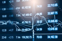 Index graph of stock market financial indicator analysis on LED. Royalty Free Stock Photo