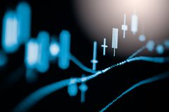 Index graph of stock market financial indicator analysis on LED. Abstract stock market data trade concept. Stock market financial data trade graph background Royalty Free Stock Photos