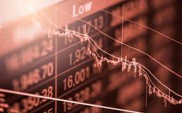 Index graph of stock market financial indicator analysis on LED. Stock Image