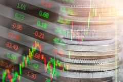 Index graph of stock market financial indicator analysis on LED. Abstract stock market data trade concept. Stock market financial data trade graph background Royalty Free Stock Photography