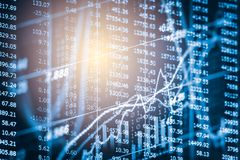 Index graph of stock market financial indicator analysis on LED. Abstract stock market data trade concept. Stock market financial data trade graph background Stock Photography