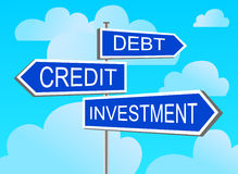 Index investment, credit, debt. The index against the blue sky investment, credit, debt Stock Photography