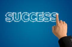 Index press on bright success word Royalty Free Stock Photos