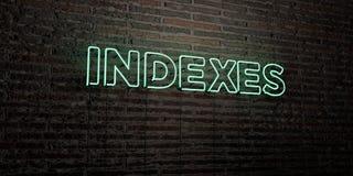 INDEX - realistiskt neontecken på bakgrund för tegelstenvägg - 3D framförd fri materielbild för royalty Royaltyfri Bild