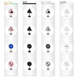 Index on the road, prohibiting, warning, indicating and other types of signs. Road sign set collection icons in cartoon Royalty Free Stock Image