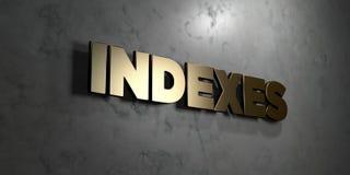 Index - signe d'or monté sur le mur de marbre brillant - illustration courante gratuite de redevance rendue par 3D Photographie stock libre de droits