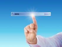 Index touchant un outil nul de moteur de recherche Photographie stock