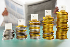 INDEX word on coins stacks Royalty Free Stock Photography