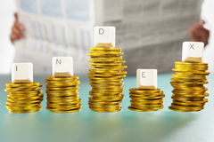INDEX word on graph like coin stacks Royalty Free Stock Photography