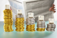 INDEX word on graph like coin stacks Stock Photo