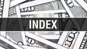 IndexCloseupbegrepp Amerikanska dollar kontanta pengar, tolkning 3D Index på dollarsedeln Finansiell reklamfilm för USA pengarsed stock illustrationer