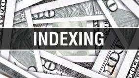 Indexera Closeupbegrepp Amerikanska dollar kontanta pengar, tolkning 3D Indexera på dollarsedeln Finansiell Comm för USA pengarse stock illustrationer