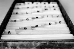 Indexera kort för namn och alfabet för organisation för affärsskola hem- royaltyfri foto