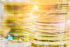 Indexgrafiek van analyse van de effectenbeurs de financiële indicator van leiden stock fotografie
