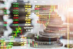 Indexgrafiek van analyse van de effectenbeurs de financiële indicator van leiden stock foto