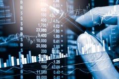 Indexieren Sie Diagramm Börseder finanzindikatoranalyse auf LED Stockfoto