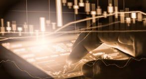 Indexieren Sie Diagramm Börseder finanzindikatoranalyse auf LED Stockbilder