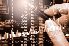 Indexieren Sie Diagramm Börseder finanzindikatoranalyse auf LED Lizenzfreies Stockfoto