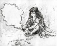 Indiër die een pijp van vrede rookt Royalty-vrije Stock Afbeelding