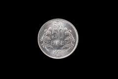 Indiër vijftig paise muntstuk dichte omhooggaand op zwarte Royalty-vrije Stock Afbeelding