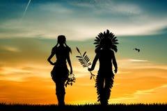 Indiërs koppelen bij zonsondergang stock illustratie