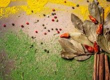 Indiański pikantność wybór w postaci drzew i kwiatów Karmowy lub korzenny kulinarny pojęcie, Zdrowy łasowania tło Mieszkanie niea obraz stock