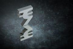 Indiański waluta symbol, znak Z Lustrzanym odbiciem na Ciemnym Zakurzonym tle lub ilustracja wektor