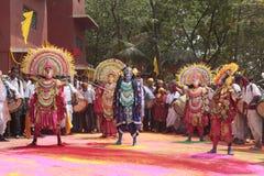 Indiańscy ludzie przy wioska karnawałem obraz royalty free