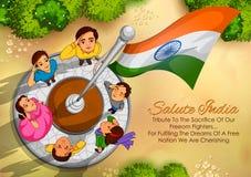 Indiańscy ludzie salutuje flaga India z dumą Zdjęcia Royalty Free