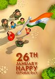 Indiańscy ludzie salutuje flaga India z dumą na Szczęśliwym republika dniu royalty ilustracja