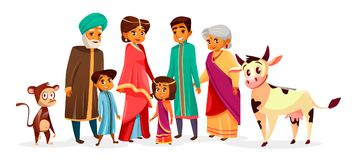 Indiańscy rodzinni wektorowi kreskówki ilustraci charaktery ilustracja wektor