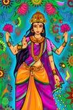 Indiańska bogini Lakshmi dla Diwali festiwalu świętowania w India Obraz Stock