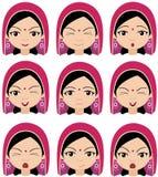 Indiańska dziewczyna w pióropuszu emocjach: radość, niespodzianka, strach, sadnes Fotografia Royalty Free