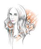 Indiańska etniczna dziewczyny twarz. Remis ręką Obrazy Royalty Free