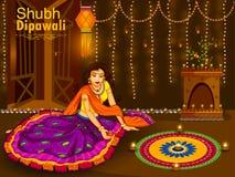 Indiańska kobieta świętuje Diwali festiwal India ilustracja wektor