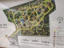 Indiańska krajowa zoologiczna parkowa mapa przy nowym Delhi India zdjęcia stock