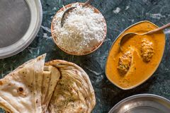 Indiańska kuchnia: tandoori naan, indyjscy basmati ryż, malai i paneer kofta zdjęcie stock