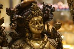 Indiańska mosiężna rzeźby twarz fotografia stock