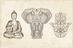 Indiańska ręka Rysujący Hamsa z Wszystkie Widzii okiem Obraz Royalty Free