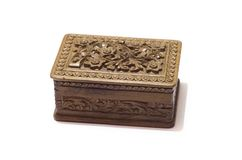 Indiański Antykwarski drewniany pudełko z grafiką odizolowywającą na białym tle Obraz Royalty Free