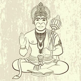 Indiański bóg Hanuman z małpią twarzą Royalty Ilustracja